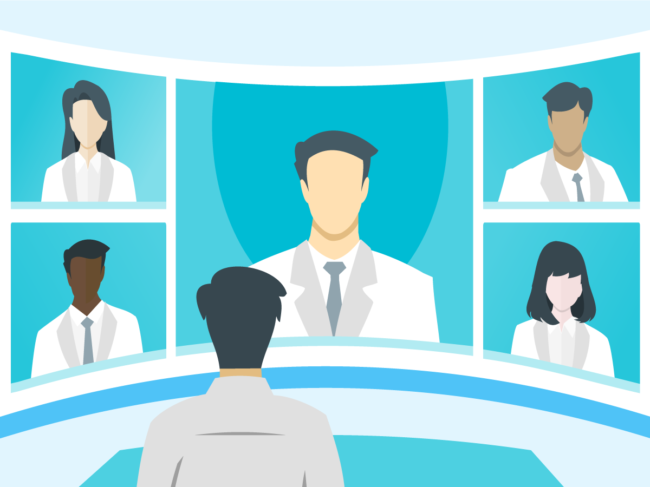 Illustration of doctors on a video conference