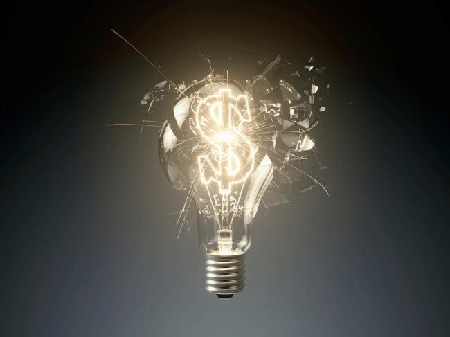 Dollar sign inside light bulb