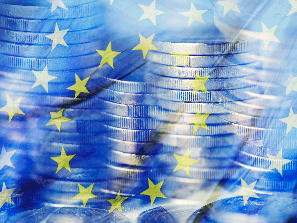 European Union flag, coins