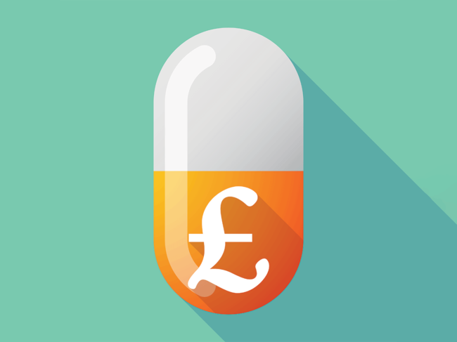 Pill with British pound sign