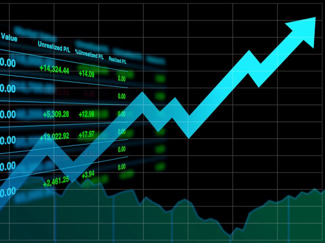 Financial chart, upward arrow