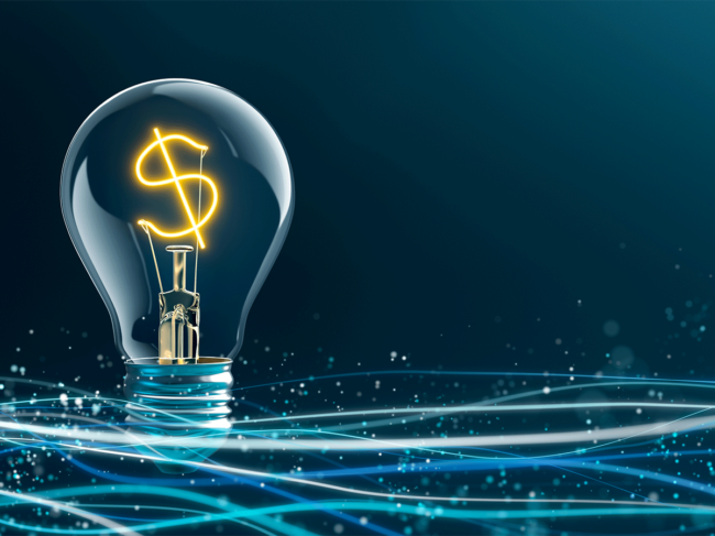 Dollar sign in lightbulb