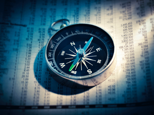 Stock chart, compass