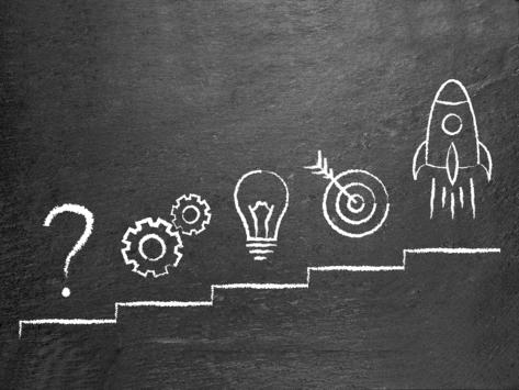 Chalkboard illustration: question mark, gears, lightbulb, target, rocket