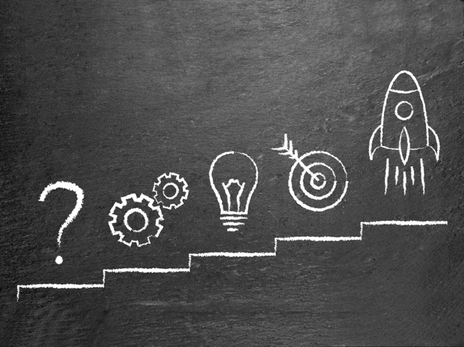 Chalkboard illustration: question mark, gears, lightbulb, target, rocket