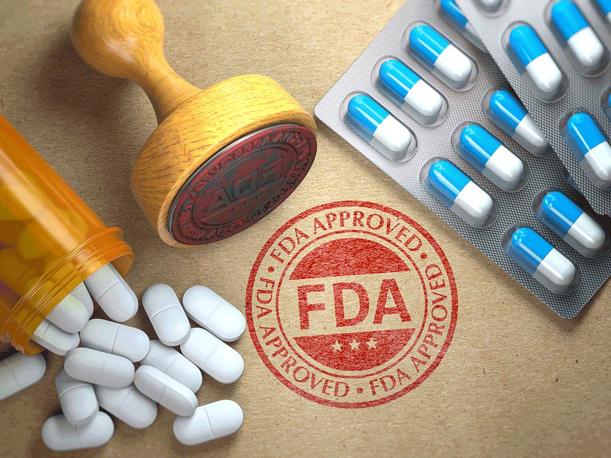 FDA Approved stamp with pills, bottle, blister pack