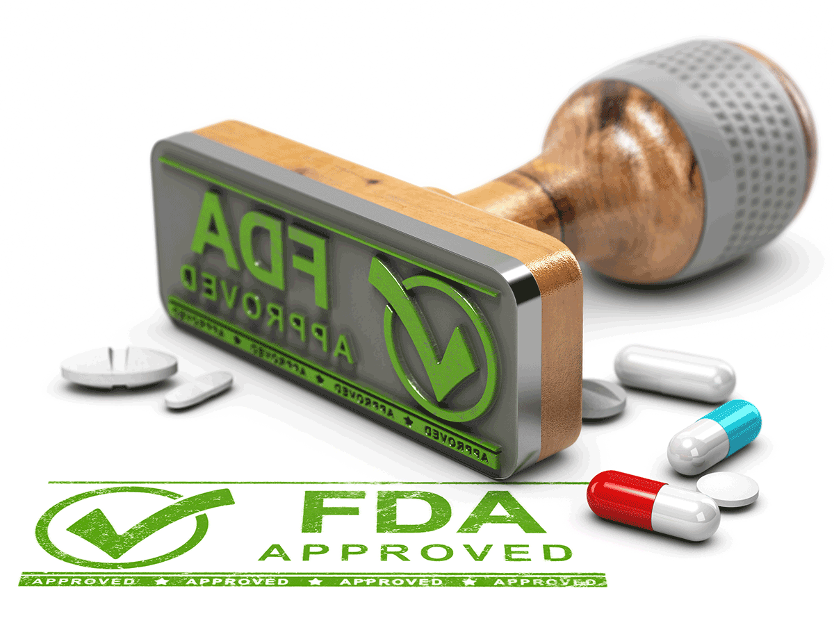 FDA Approved stamp with pills