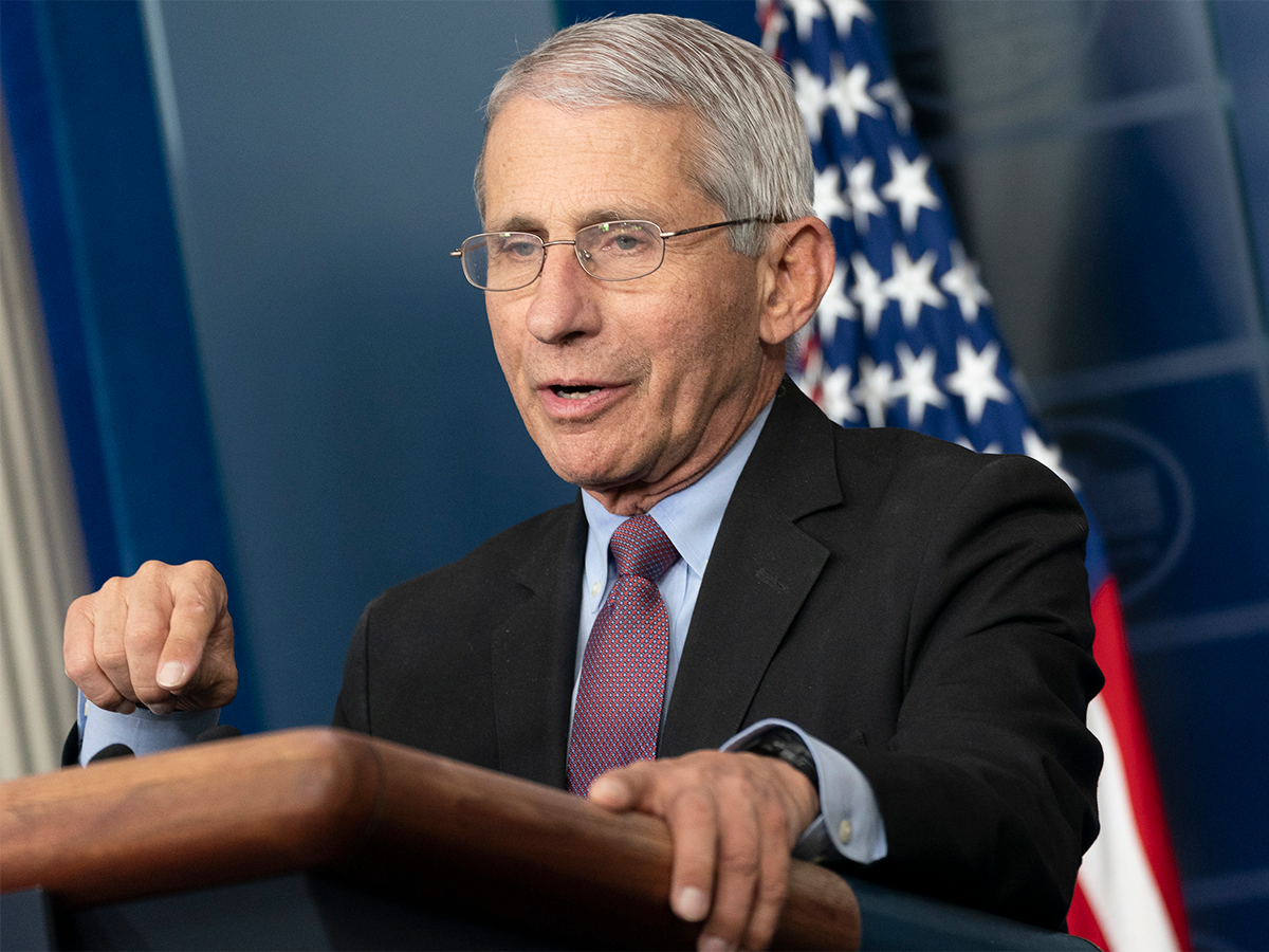 NIAID Director Anthony Fauci speaking at a White House briefing