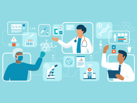 Illustration of medical professionals, research