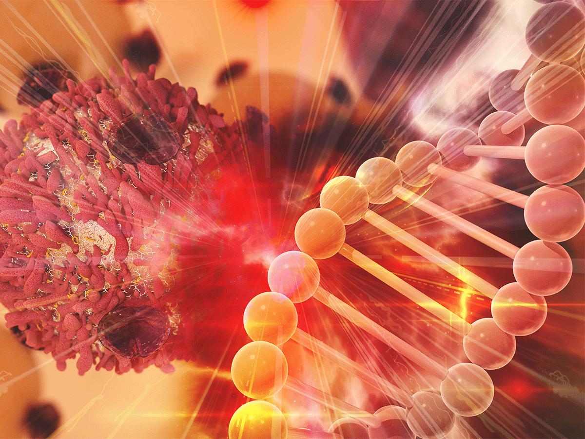 Cancer cell, DNA illustration