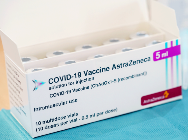Box of Astrazeneca COVID-19 vaccine vials