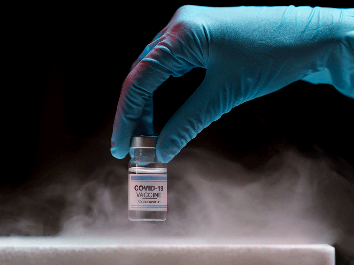 COVID-19 vaccine vial on ice