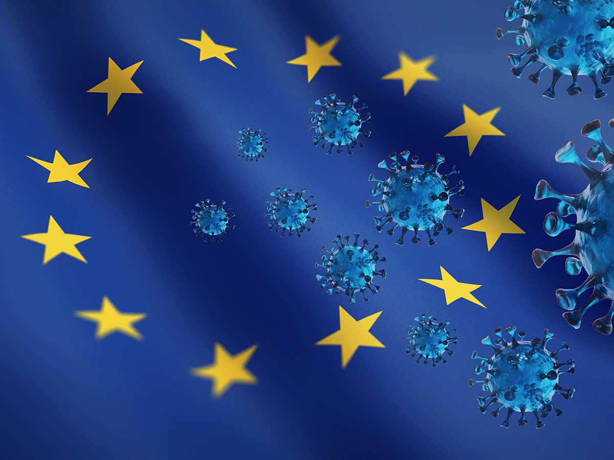 European Union map and coronavirus