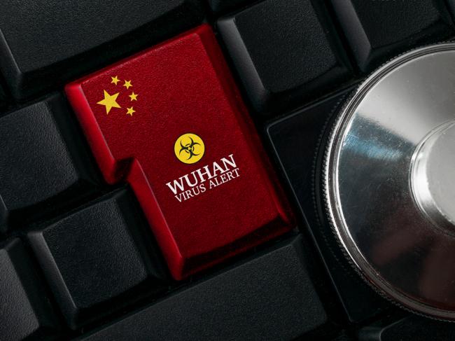 Chinese flag, Wuhan virus alert button on keyboard