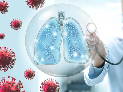 Coronavirus, lungs, hand holding stethoscope
