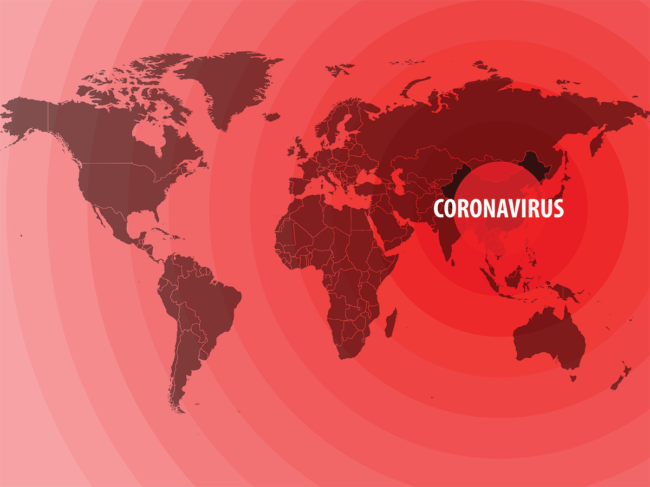 Map illustrating origin and spread of coronavirus