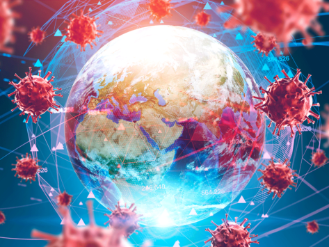 Earth infected with pandemic