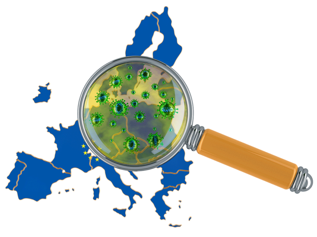Europe under magnifier/petri dish with coronavirus