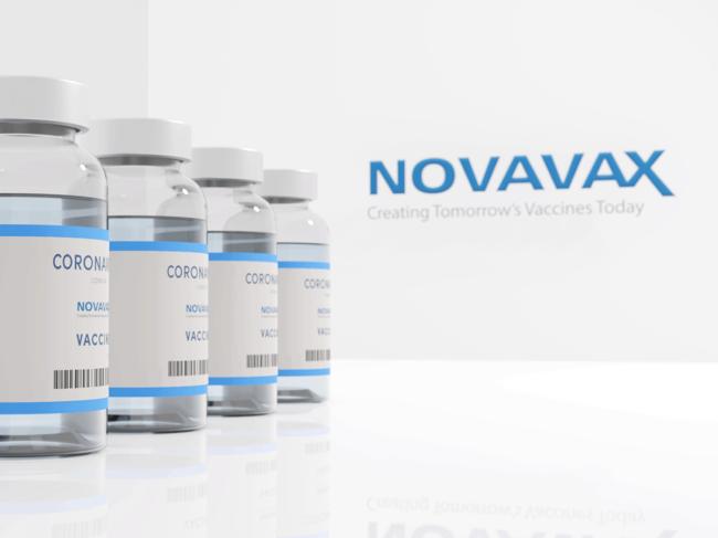 Novavax logo, coronavirus vaccine vials