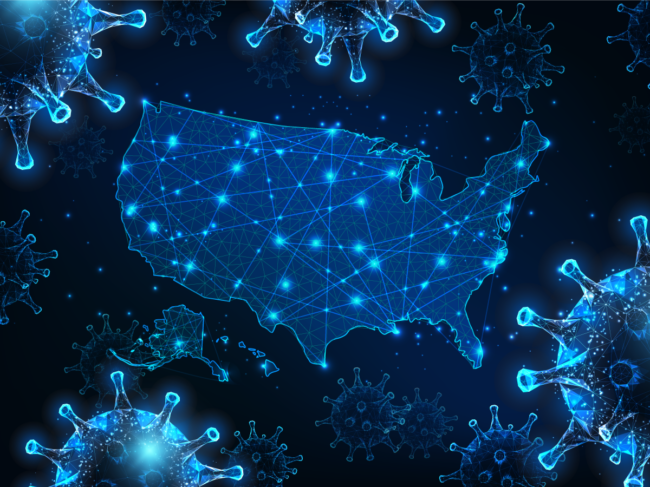 Digital illustration of U.S., coronavirus