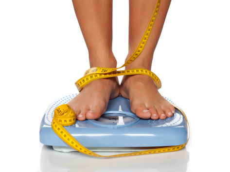 Tape measure wrapped around feet on scale