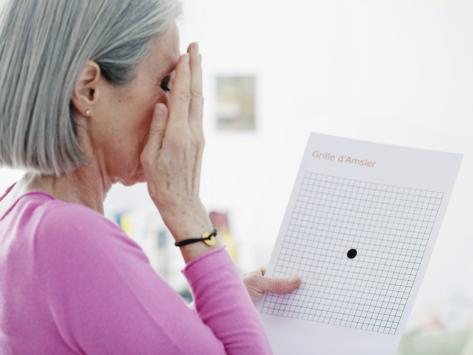 Woman taking Amsler grid eye exam