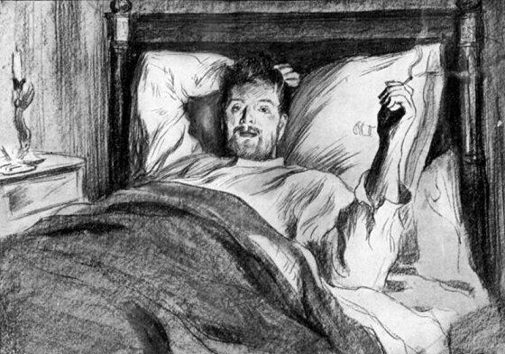 awake in bed illustration
